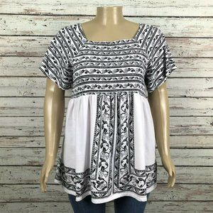 Woman Within Black White Smocked Floral Shirt Top